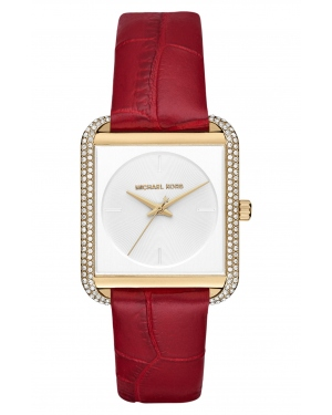 Часы Michael Kors Lake Pave Gold-Tone and Embossed-Leather Watch MK2623