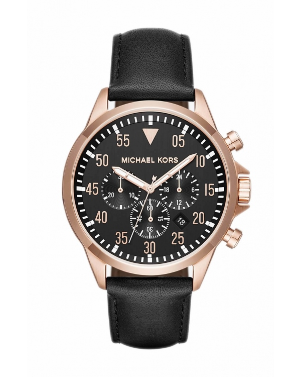 Часы Michael Kors Gage Rose-Gold Tone And Leather Watch MK8535