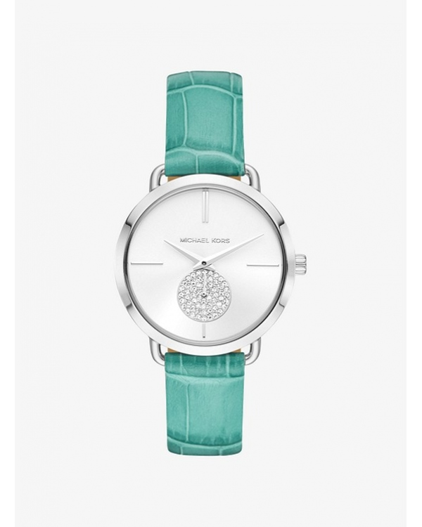 Часы Michael Kors Portia Silver-Tone Embossed Leather Watch MK2720