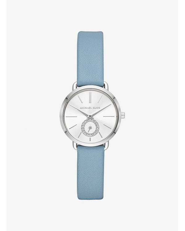 Часы Michael Kors Petite Portia Silver-Tone Leather Watch MK2733