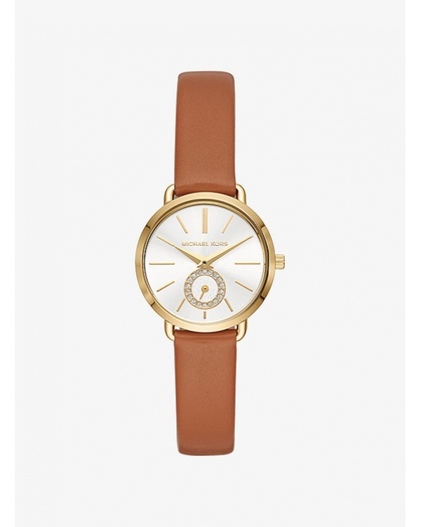 Часы Michael Kors Petite Portia Gold-Tone Leather Watch MK2734