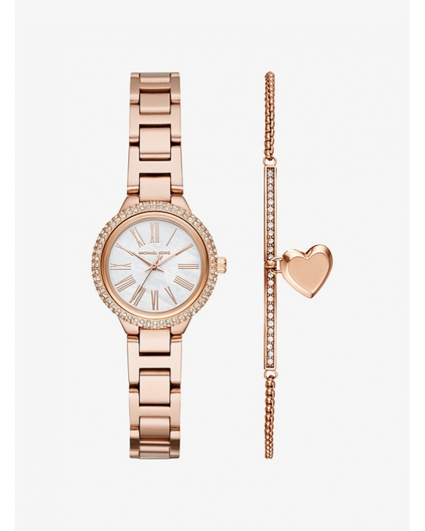Часы Michael Kors Petite Taryn Rose Gold-Tone Watch and Bracelet Set MK3858