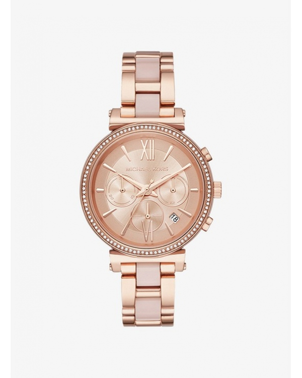 Часы Michael Kors Sofie Pave Rose Gold-Tone and Acetate Watch MK6560