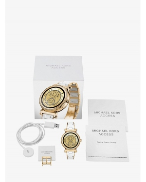 Часы Michael Kors Sofie Pave Gold-Tone and Silicone Smartwatch MKT5039