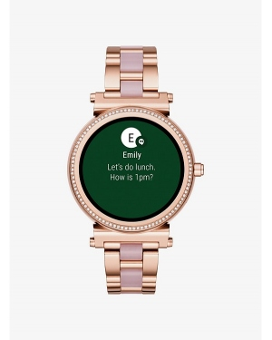 Часы Michael Kors Sofie Pave Rose Gold-Tone and Acetate Smartwatch MKT5041