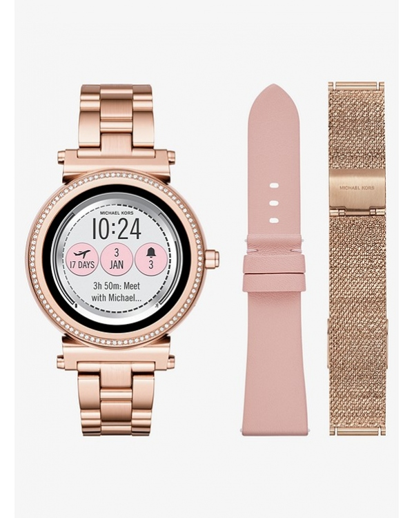 Часы Michael Kors Sofie Pave Rose Gold-Tone Smartwatch Set MKT5043