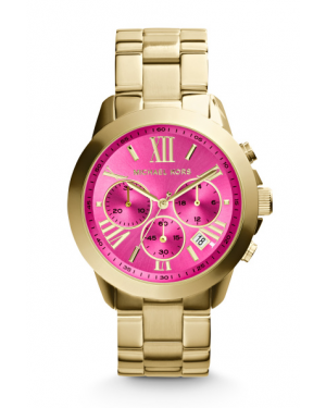 Часы Michael Kors Bradshaw Chronograph Hot Pink Dial Gold-tone Watch MK5924