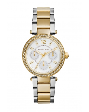 Часы Michael Kors Mini Parker White Glitz Dial Two-Tone Watch MK6055