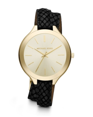 Часы Michael Kors Slim Runway Gold-Tone Embossed-Leather Wrap Watch MK2315