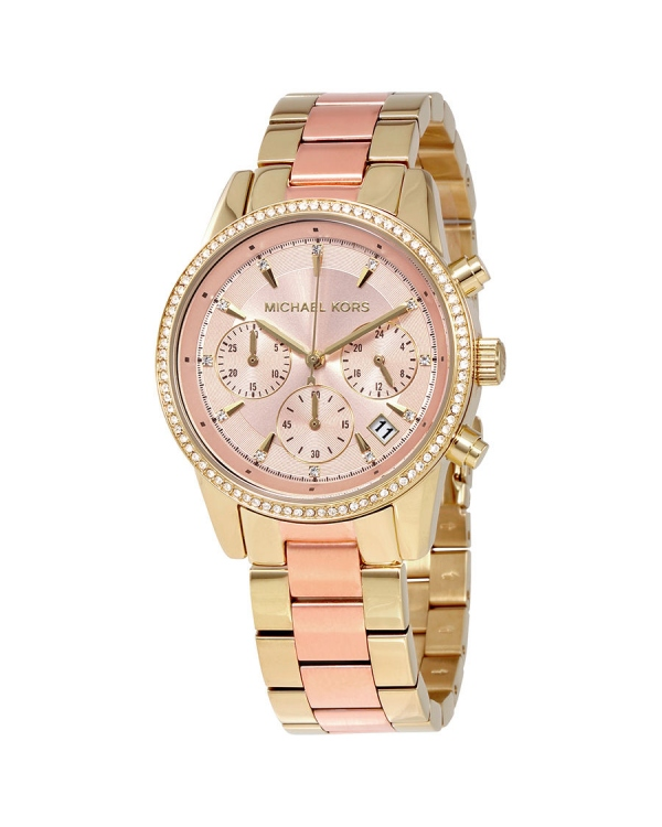 Часы Michael Kors Ritz Rose Gold Dial Ladies Chronograph Watch MK6475